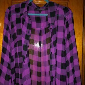 Tops - Lane Bryant sheet black and hot pink top
